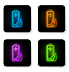 glowing neon eco nature leaf and battery icon vector image