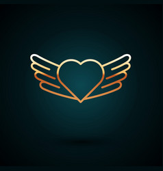 Gold line heart with wings icon isolated on dark vector