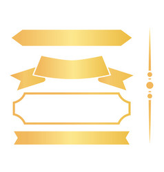 Golden ribbons and frames for certificates set vector