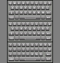 Gray virtual keyboard for a smartphone vector