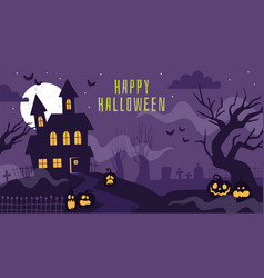 halloween banner with haunted house poster vector image