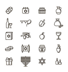 hanukkah signs black thin line icon set vector image