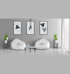 house living room realistic interior mockup vector image