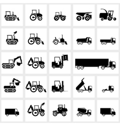 icon set cars and tractors vector image