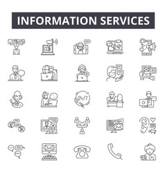 information services line icons signs set vector image