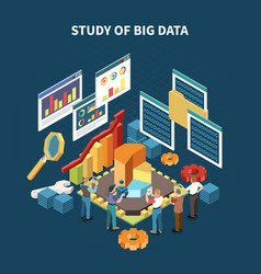 isometric big data analytics composition vector image