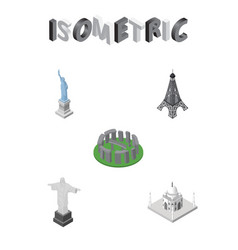 isometric travel set of rio paris new york and vector image