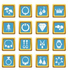 Jewelry shop icons set sapphirine square vector