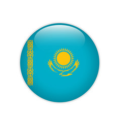 kazakhstan flag on button vector image