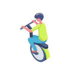 kid balancing on wheel electric transport vector image