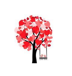 Love tree hearts vector