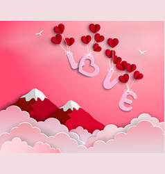 Love with red balloons floating in the air vector