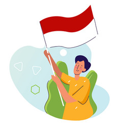 Man hold indonesian flag with cartoon flat style vector