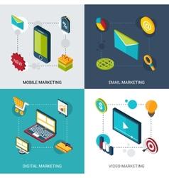 Marketing Isometric Set vector image