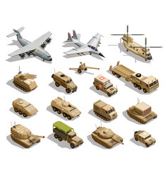 Military transport isometric icons set vector