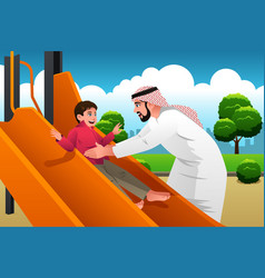 Muslim arabian man with his child in the vector