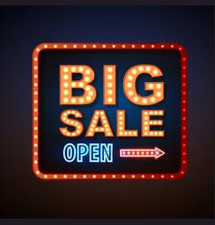 neon sign big sale open vintage electric signboard vector image