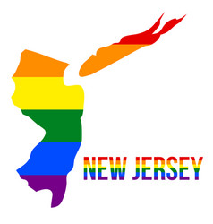 New jersey state map in lgbt rainbow flag vector