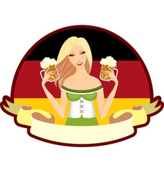 Oktoberfest girl beer label vector