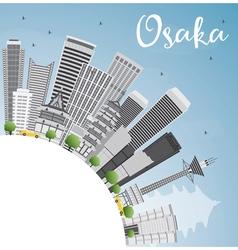 Osaka Skyline with Gray Buildings Blue Sky vector