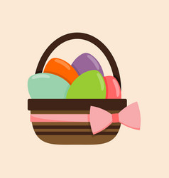 pink ribbon bucket of colored eggs vector image
