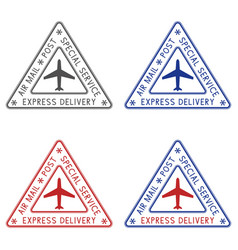 Post stamps express delivery colored triangle vector