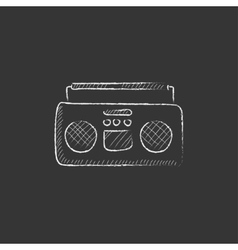 Radio cassette player Drawn in chalk icon vector image