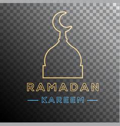 Ramadan kareem neon effect vector