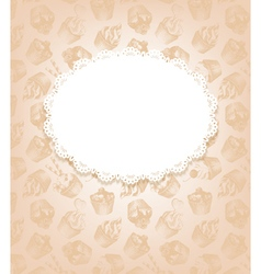 Retro background with cupcakes and doily vector