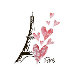 Romantic background heart and eiffel tower vector