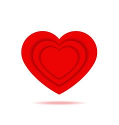 romantic red heart with shadow isolated icon vector image