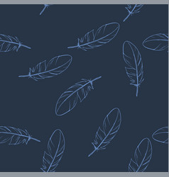 seamless pattern with hand drawn feathers dark vector image