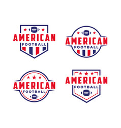 set american football sport logo with gridiron vector image