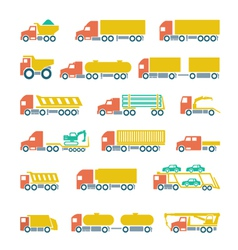 Set flat icons of trucks trailers and vehicles vector image vector image