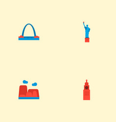 set of famous icons flat style symbols with statue vector image