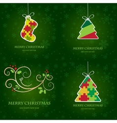 Set of four greeting cards with christmas elements vector image
