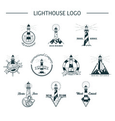 Set of isolated ocean or sea lighthouse vector