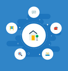 set of realestate icons flat style symbols with vector image