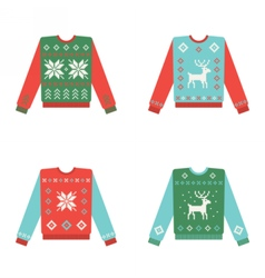 Set of ugly christmas sweaters with winter pattern vector