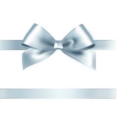 Shiny silver satin ribbon on white background vector