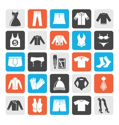 Silhouette Clothing and Fashion collection icons vector image