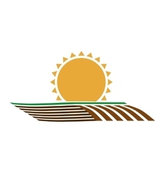 silhouette colorful seeding with horizont sun vector image