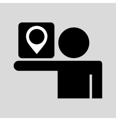 Silhouette man sign pin map media design vector