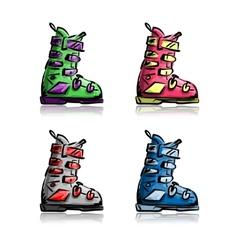 Ski boots set sketch for your design vector image