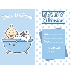 Smiling baby boy in bath vector