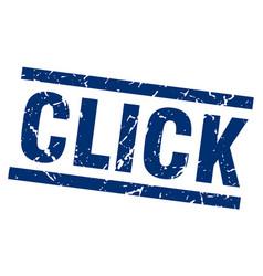 square grunge blue click stamp vector image