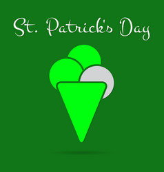 St patricks day card bright green ice cream text vector
