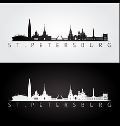 st petersburg skyline and landmarks silhouette vector image