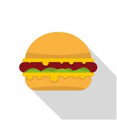 Tasty hamburger icon flat style vector