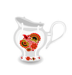tea pitcher with khokhloma ornament vector image